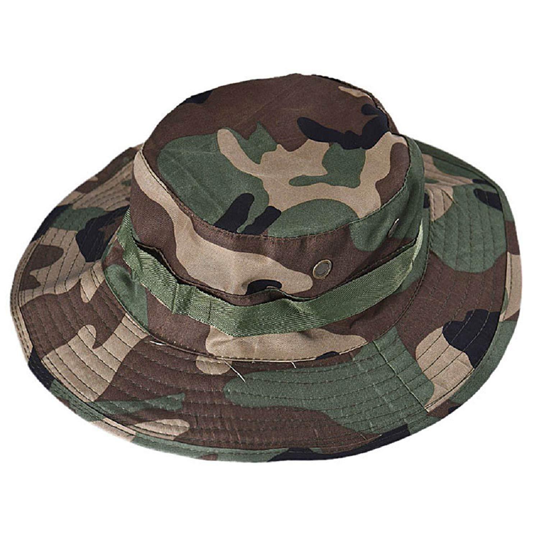 ee499eec6e501 Get Quotations · Fenleo Boonie Hat Bucket Wide Brim Military Cap for  Hunting Fishing Outdoor
