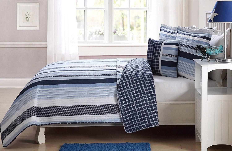 Fancy Linen 3 Pc Twin Size Bedspread Coverlet Reversible Elegant Stripes Blue White New # Elegant Stripe