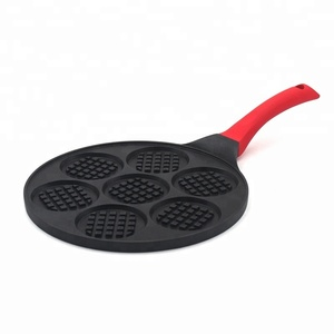 smiley face 7 holes 26cm die cast aluminium round pancake waffle maker fry pan
