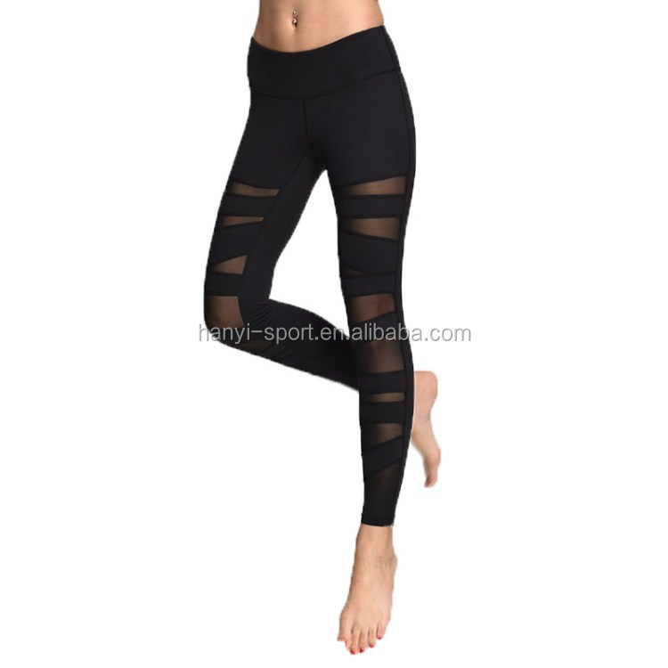 Yoga-Hose Womens Running Leggings Sporthose Frauen-Gymnastik-Laufhose Mesh Workout Pants Fitness