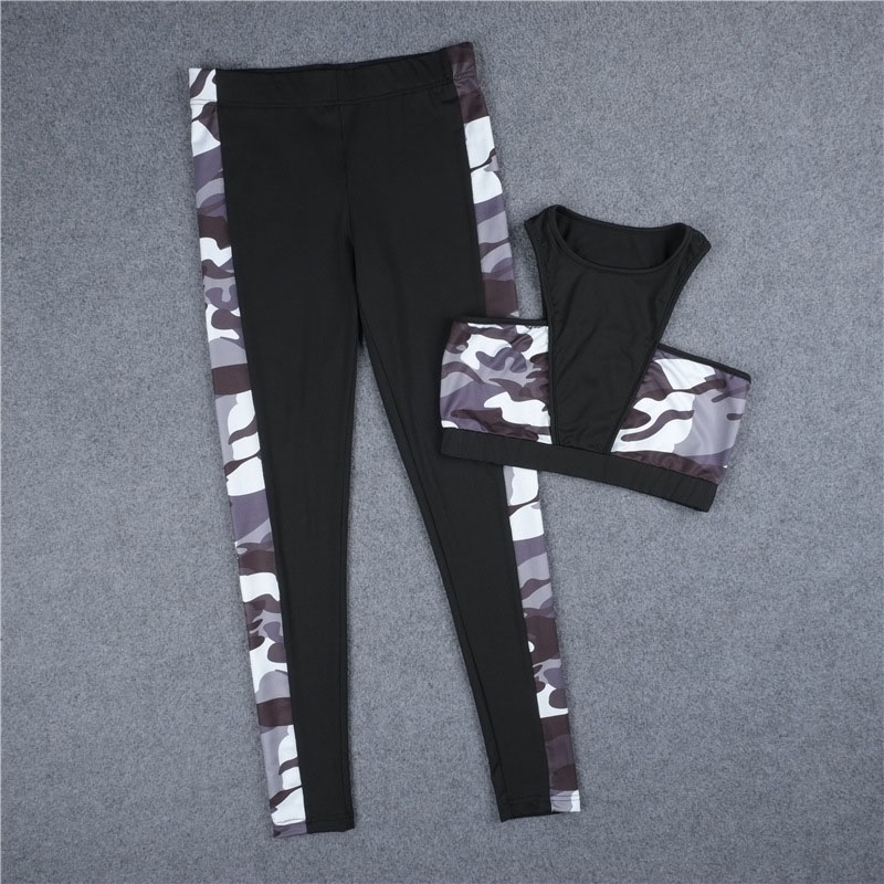 Polyester Spandex Material Activewear Sets Camouflage Sublimation 2 Piece Set Women Yoga Pants and Bra Set Fitness Ropa