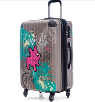 customized rolling 20inch printed trolley luggage suitcase for business women