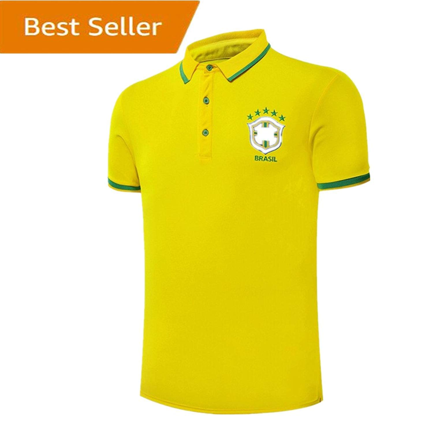 5818bad5aa8 Get Quotations · Brazil Neymar JR National Team Soccer Polo Tshirt Mens  Organic Cotton Polo Shirts Yellow Size M
