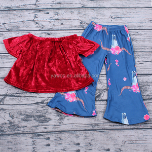 Ready to ship cow skull floral pants kids wear RTS sets