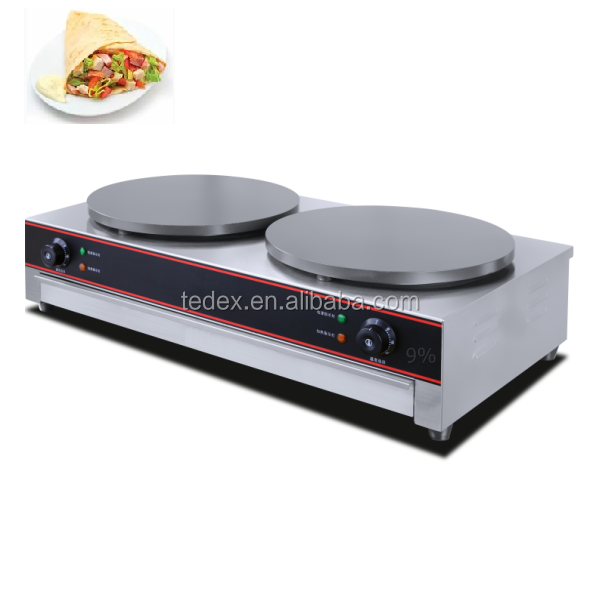Dual Commercial Stainless Steel Crepe Maker TEM-02 with Non-stick Surface