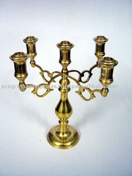 Brass Candelabra 5 Light Lacquered