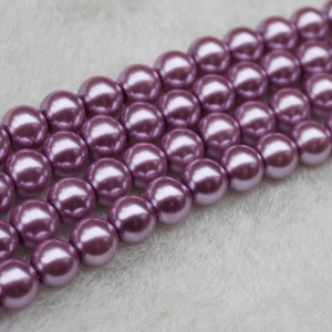 Supply 8 MM Purple Colors Glass Pearl Beads Jewelry Spacer beads