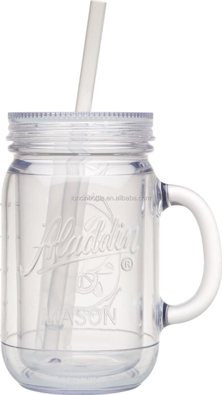 20 Oz Acrylic Mason Jar With Lid Amp Straw 16 Oz Bpa Free