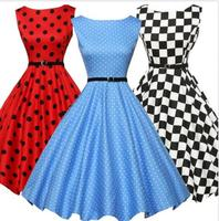 walson Women's Polka Dot 1950s Vintage Retro Rockabilly Sleeveless Evening Party Dress