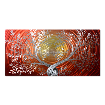Modern Artistic Impressions Paintings Red Tree Designs Metal Wall Art Decor