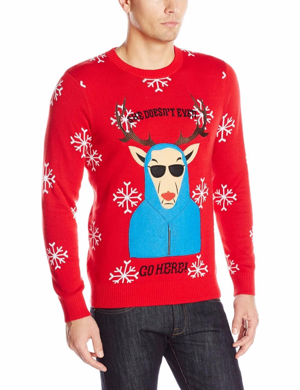 Hombres Suéter Rojo Azul Abrigo Patrón Reno Navidad Puente - Buy ...
