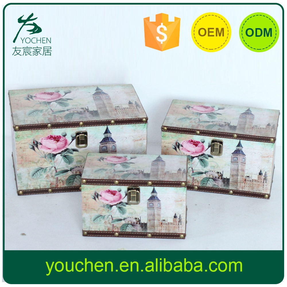 home deco used paper covered wooden box supplier