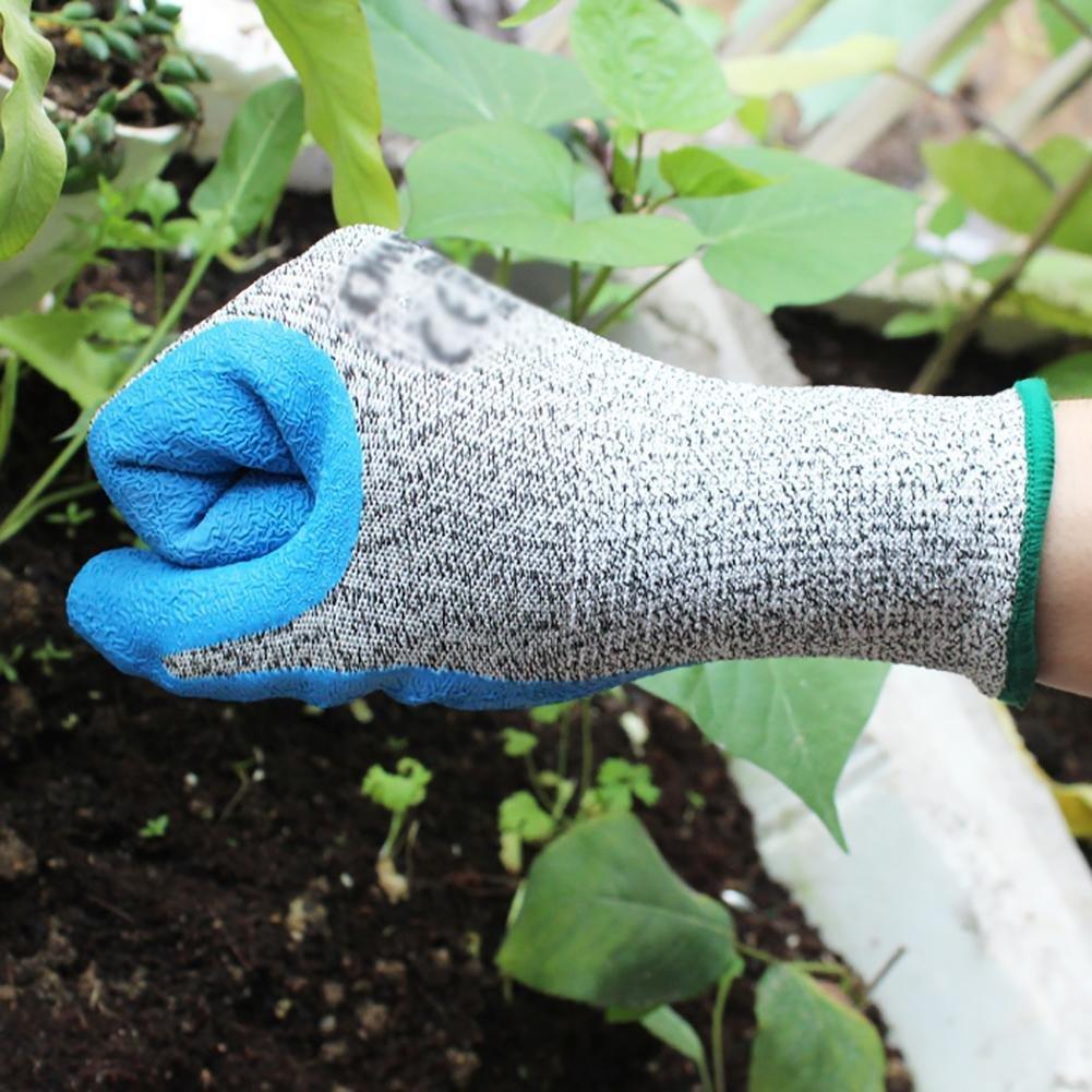 JZDCSCDNS Garden Gloves Anti-scratch Anti-puncture Non-slip Anti-tearing Ergonomic Planting Car Repair Site Handling Elastic Cuffs Wear-resistant Latex Anti-cutting Yarn Breathable Gray