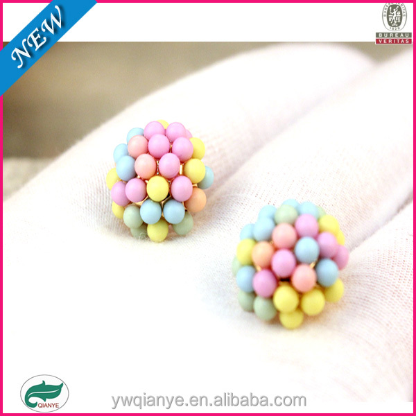 The lovely ladies candy color QQ ball all-match Earrings
