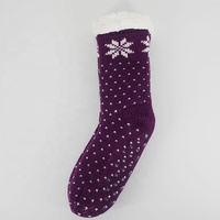 Womens Wholesale snowflake Fuzzy fleece Lining Non-slip Indoor Slipper Socks