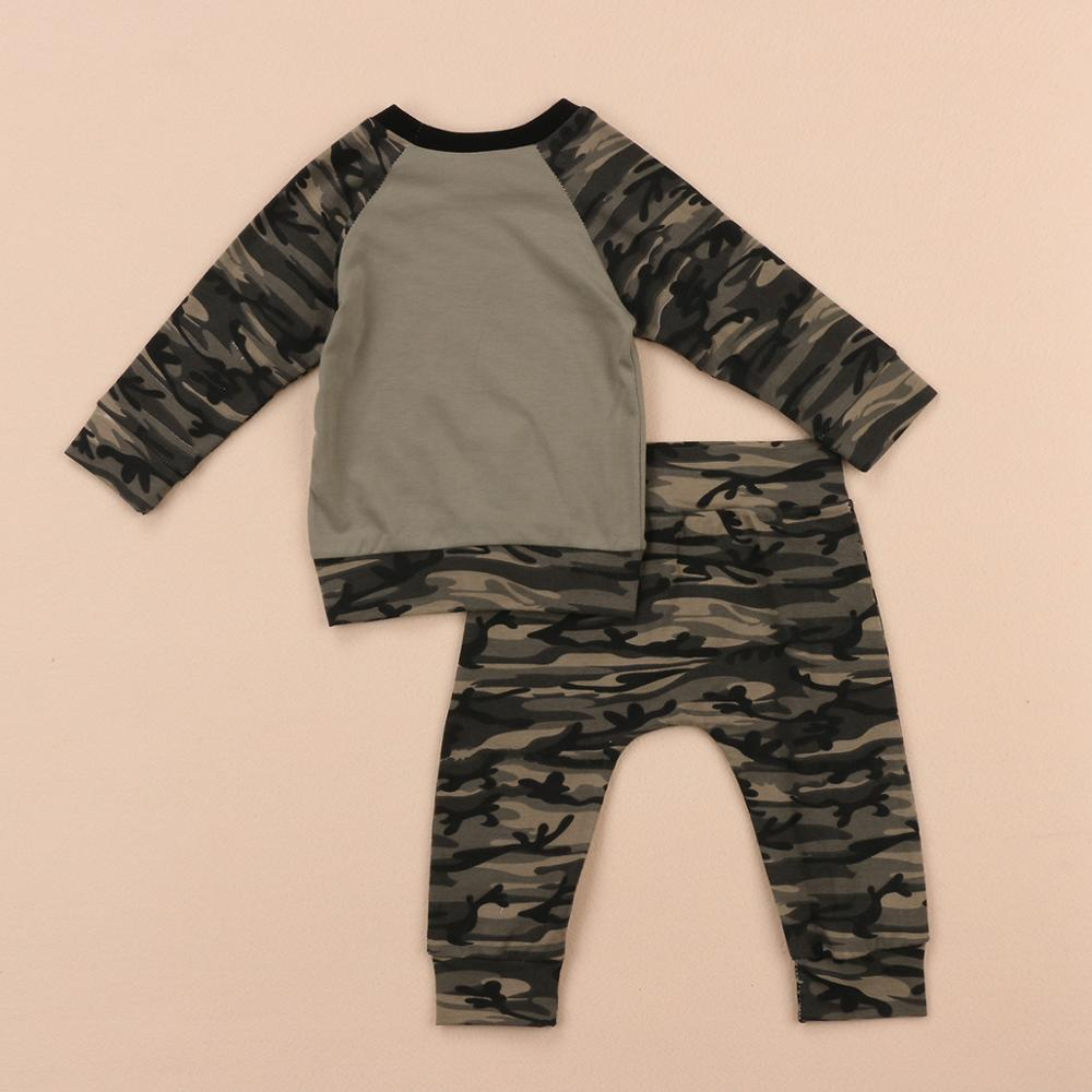 aa54ef28cd1c0 2018 boys spring clothes sets newborn baby long sleeve T shirt+camouflage  long pants 2pcs