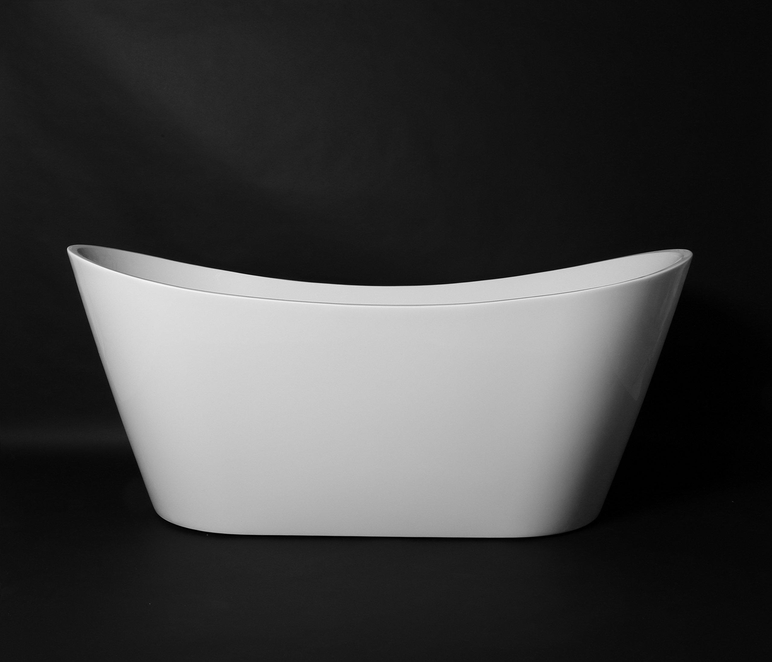 "Kokss Bolsena Modern Acrylic Freestanding Soaking Bath Tub Spa 67"", White, Oval, Luxury hot tub spa"
