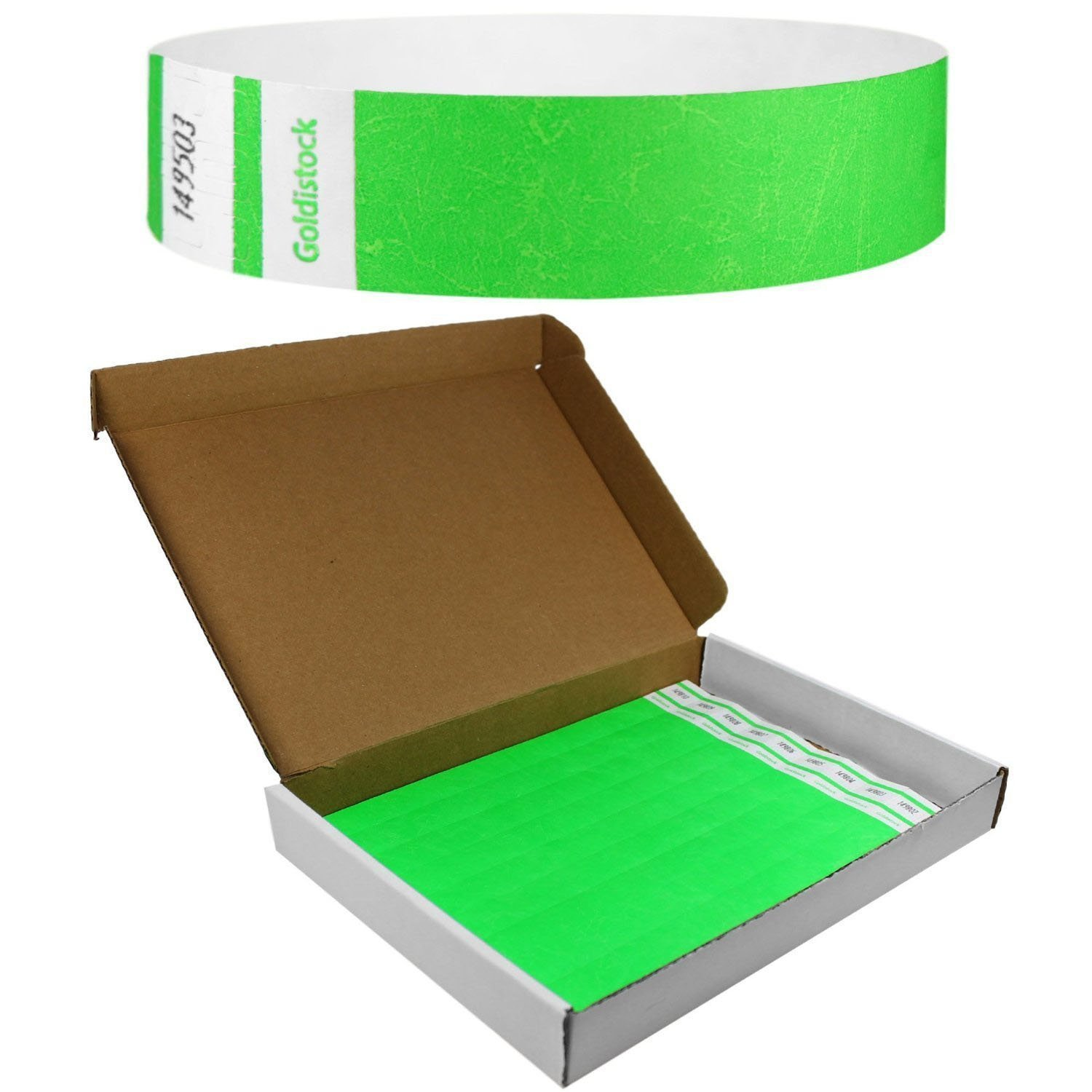 "Goldistock Select Series with Box - Tyvek Wristbands Day Glow Neon Green 500 Count - 3/4"" Premium Tyvek - Event Identification Bands (Paper - Like Texture)"