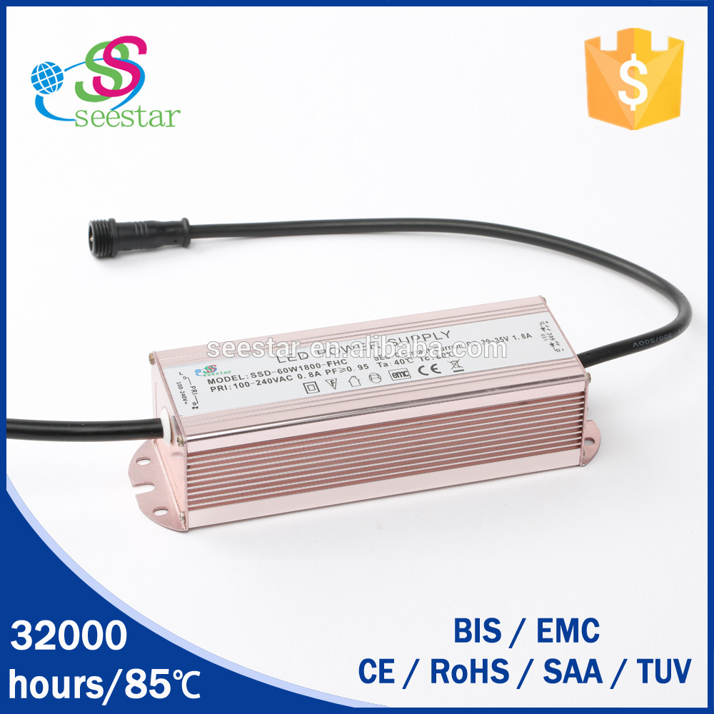 70w 36v waterproof power supply 2100mA seestar led driver factory