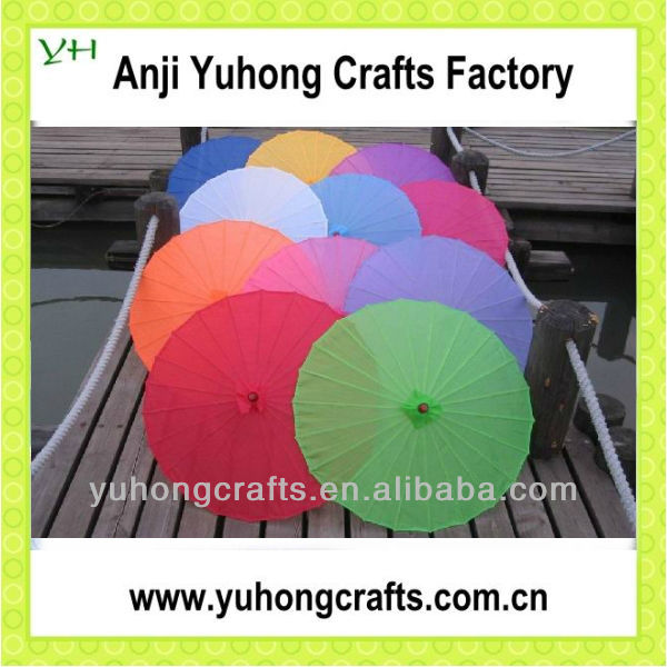 Colorful Silk Parasol Chinese Umbrella With Bamboo Handle For Wedding