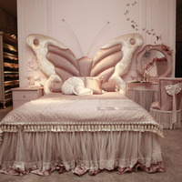 SY102 Butterfly and light pink design Children baby bed girl kids for children bedroom furniture