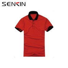 100% Egyptian Cotton Custom your Logo Polo Shirt Bulk Men's Thick Red Polo t shirt with Black Collar OEM