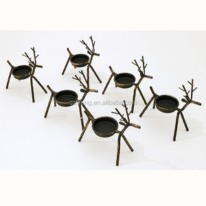 Best for Christmas Holiday Set of 6 Metal Reindeer Tealight Candle Holders