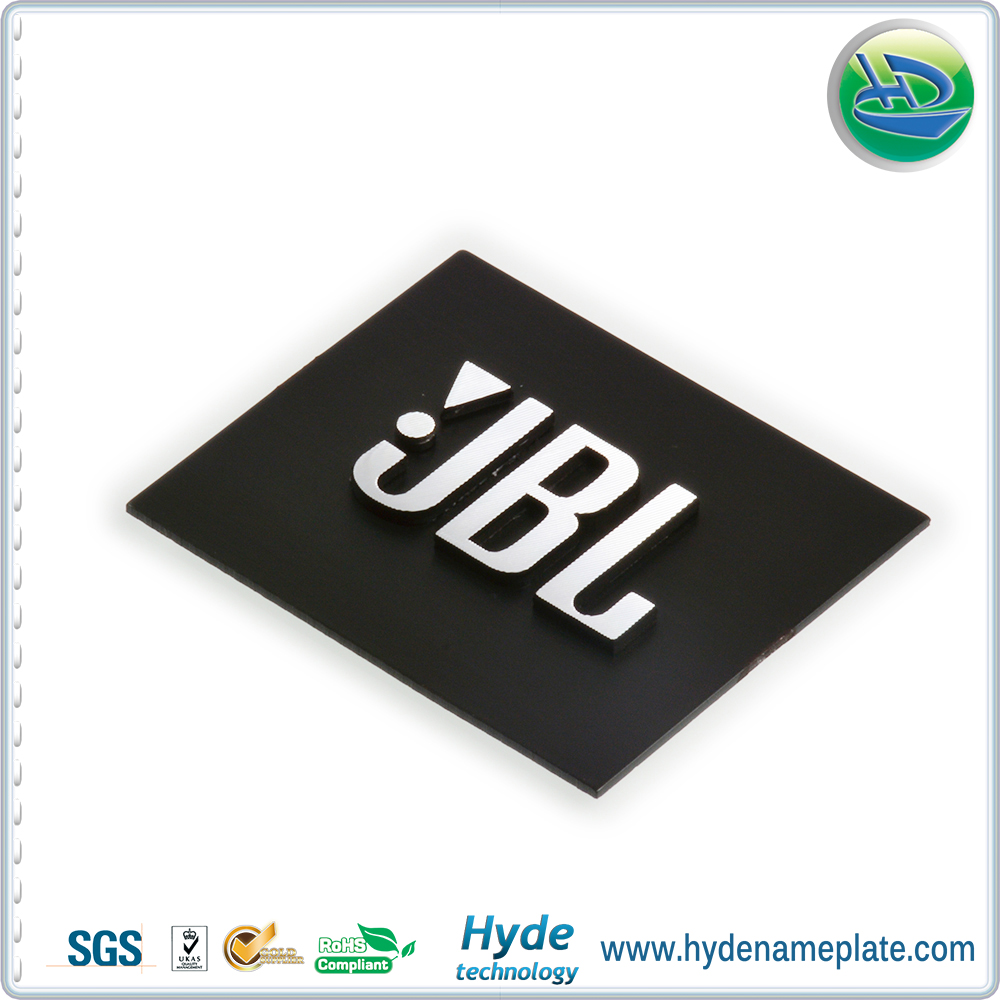 Customized 3 d brand logo label stickers for sound boxplain color sound box stickers buy brand name logo stickermetal brand logo stickerplain