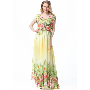 Hot sale women summer floral maxi gaun long boho dress chiffon new style