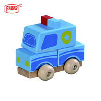 Kids Educational Construction Blocks Wooden Puzzle Assembly Car Set Painted Truck Toy