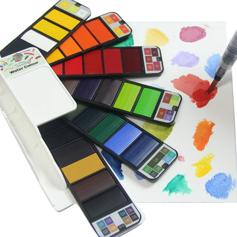 Fuumuui Pocket Watercolor Paint Set 33 Assorted Water Colors Travel Portable Field Kit with Paint Brush, Perfect Gift for Painting On The Go - 33 Colors
