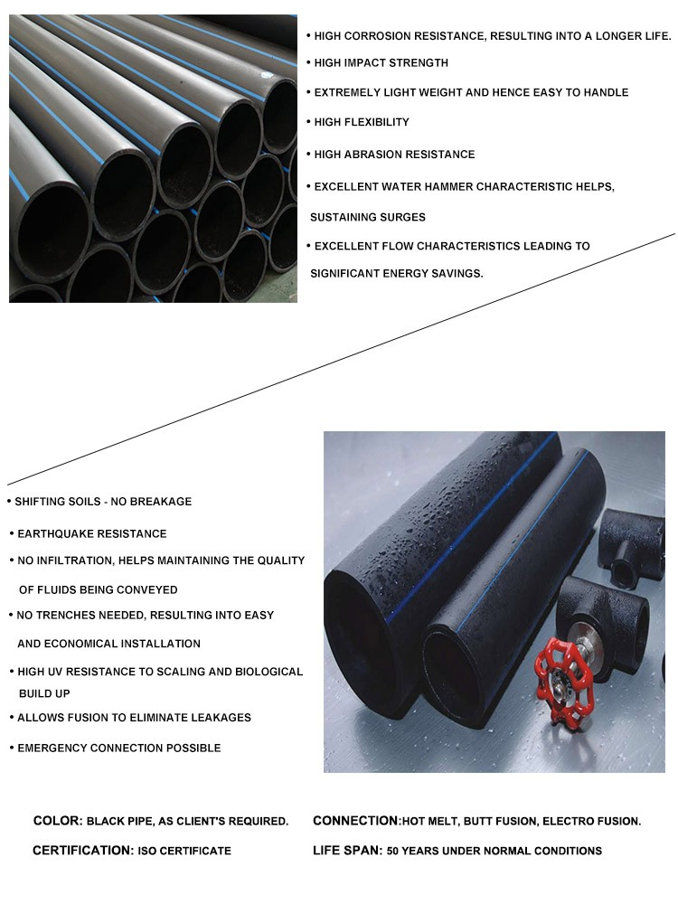 2 Inch hdpe polyethylene water supply pipe