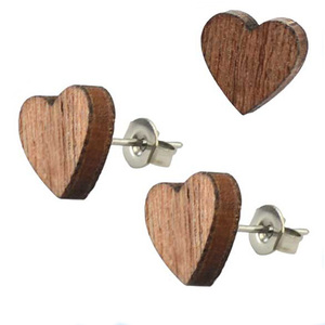 medical steel stud earrings cheap laser cut heart shaped wooden african earrings