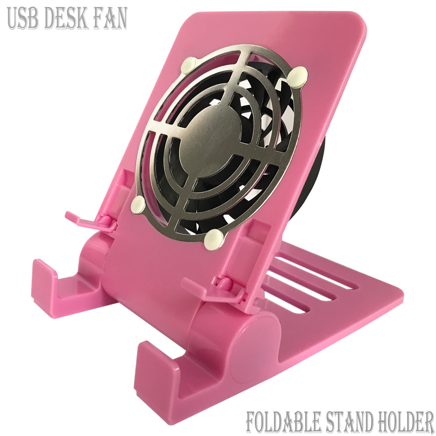 Desk USB Fan Air Circulator Fan USB Table Desk Portable Fan,Small Personal USB Fan Smartphones Stand Holder Cell Phone Stand Holder Cooling Cooler Fan Cooling Pad Radiator Foldable Stand Holder(Pink)