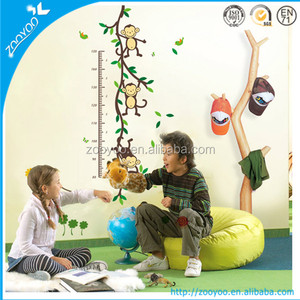 Zooyoo nursery pvc wall decal kids wall sticker home decoration kindergarten wallpaper cartoon height measurement monkey vine