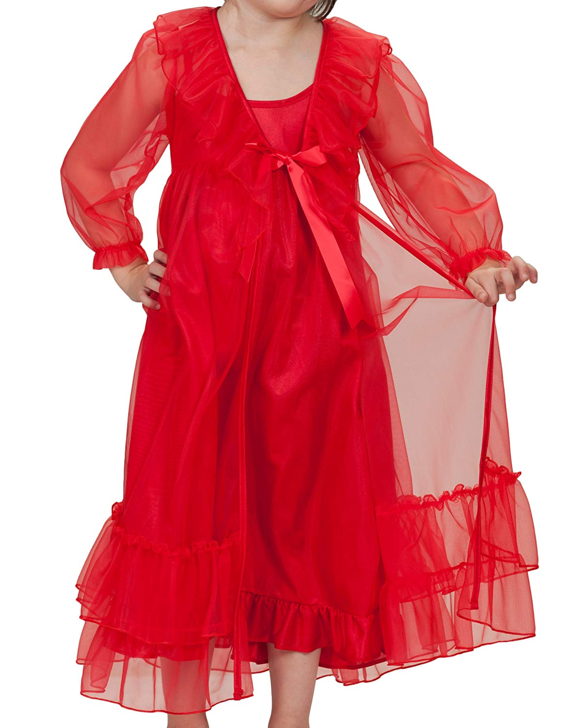 3dfa6ea940 Get Quotations · Laura Dare Big Girls Frilly Peignoir Nightgown and Robe Set  w Scrunchie