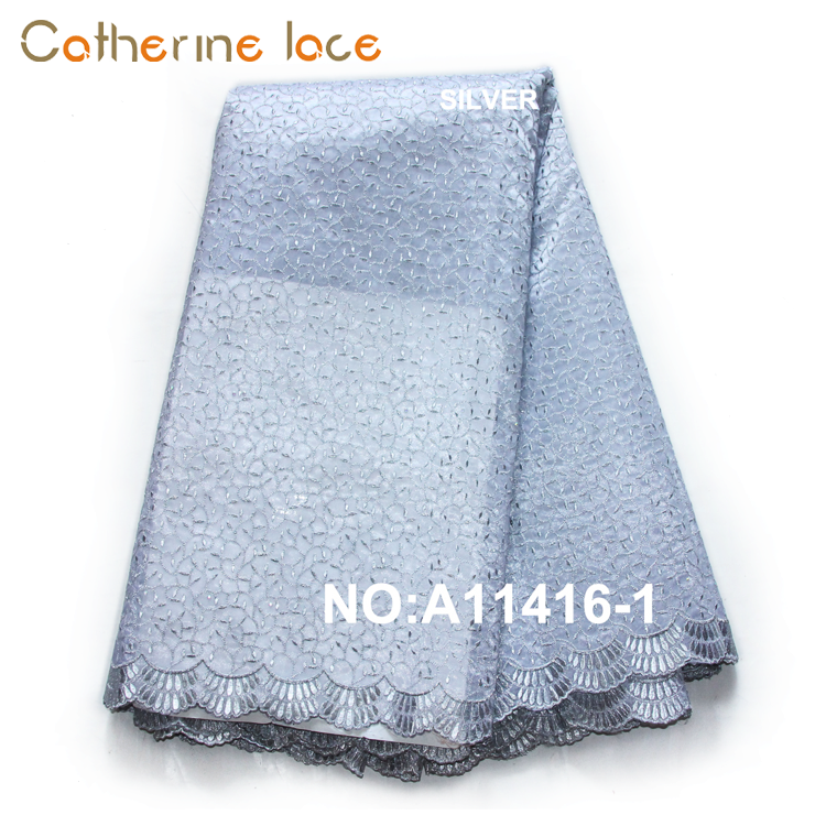 Catherine Export Goods Gold Color Sequins Types Of Embroidery Organza Lace Fabric