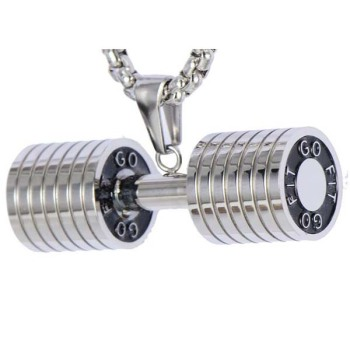 dumbbell weightlifting style steel p necklace fitness jewelry men original stainless pendant