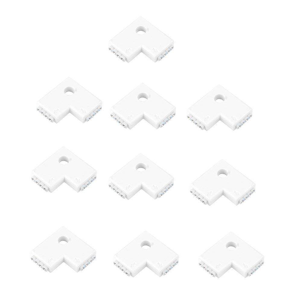 SIENOC 10 Packs of White L Shape 4 Pin Adapter for RGB 5050 Led Light Strip Connector