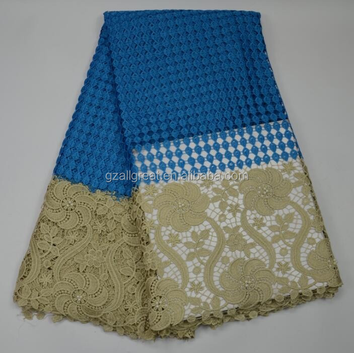 AG4731#6 2017 new arrival african guipure lace fabric/aroyal blue cupion lace with stones/cord lace