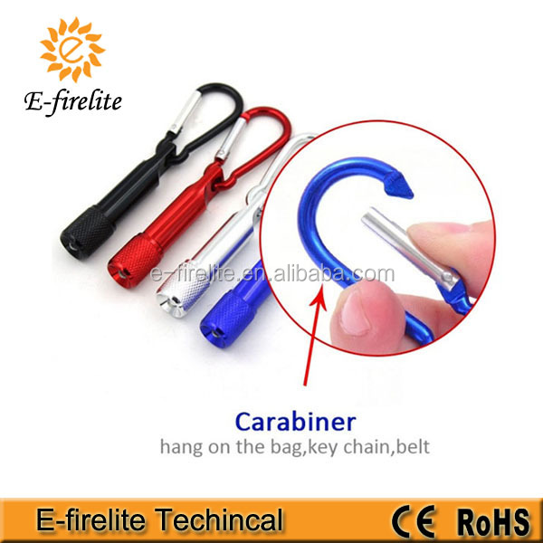 Promotional mini LED keychain light with carabiner
