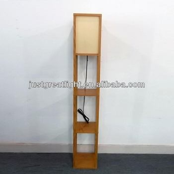Simple Square Paper Floor Lamp With Wood Frame For House Decoration