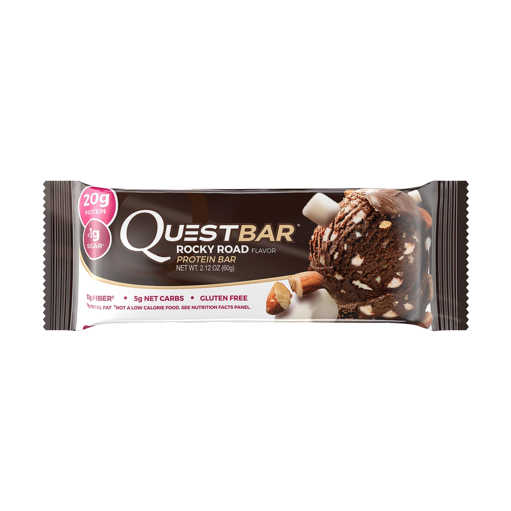 Quest Nutrition Protein Bar, Rocky Road, 20g Protein, 5g Net Carbs, 210 Cals, High Protein Bars, Low Carb Bars, Gluten Free, Soy Free, 2.1 oz Bar, 12 Count
