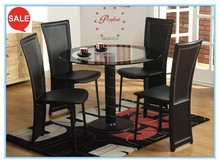 Stylish round glass dining table, rattan dining table dining set