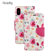 Ctunes Luxury Red Flower Pattern Leather Wallet Cell Phone Case Stand Cover With Cash Card Slots For Apple iphoneX