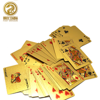 Durable Waterproof Plastic Playing Cards Gold Foil Poker Golden Poker Cards Gold-Foil Plated Playing Cards Poker Table Games