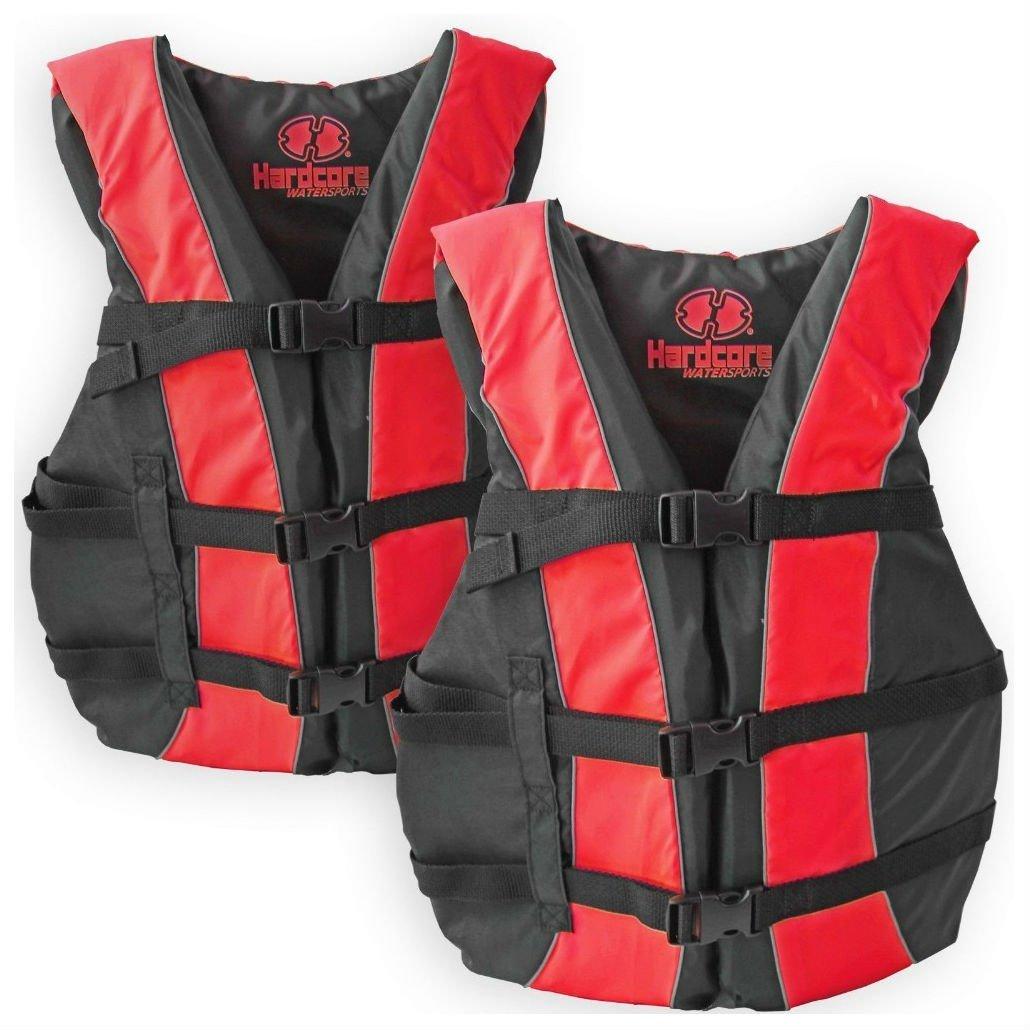 0bc854f8c00 Get Quotations · 2 Pack Hardcore Adult Life Jacket PFD Type III Coast Guard  Ski Vest Red