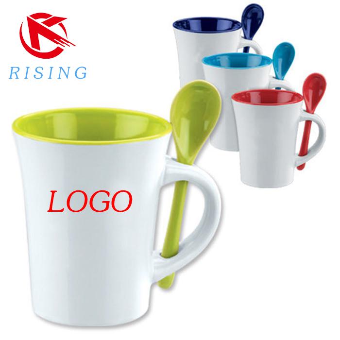 Top Ceramic Mug With Spoon In Handle, Ceramic Mug With Spoon In Handle  GO15