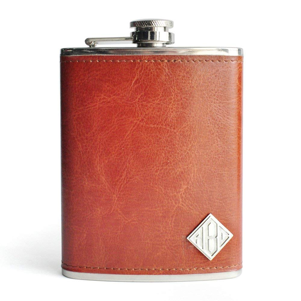Personalized Monogram Initials Flask, Custom Flasks, Engraved Monogram Flasks, Leather Hip Flasks, Stainless Steel, Custom Birthday Flasks