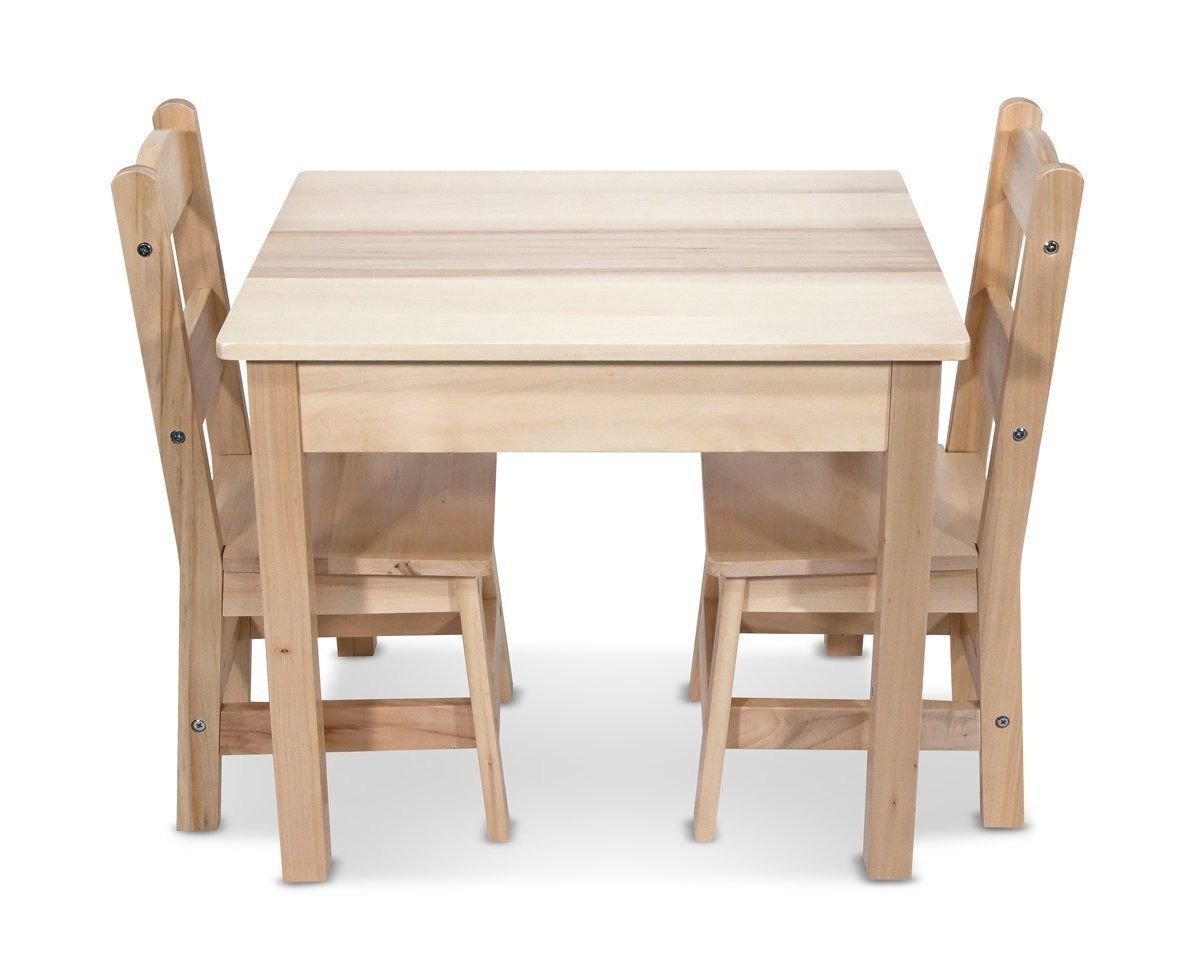 Get Quotations Melissa Doug Wooden Table And 2 Chairs Set With Tip Resistant Design